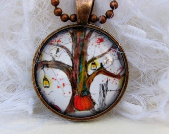 Jack O Lantern Tree,  Art Pendant and Necklace. Created with an exclusive Shelley Roze image.