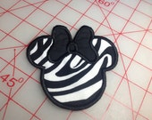 Miss Mouse Applique Zebra Safari With Black Bow Iron On or Sew On Patch