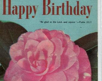 Birthday post card - Happy Birthday, Pink Camelia vintage Postcard,   flower