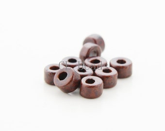 100pcs Greece Ceramic Cylinder Beads - Dark Brown 6x4mm (707)