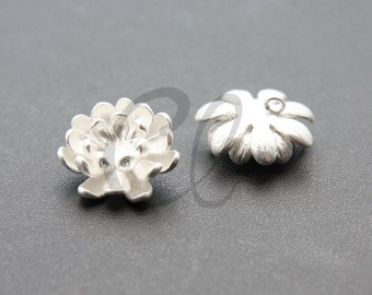 2pcs Matte Silver Plated Brass Base Charms-Flower 17mm (1171C-U-151)