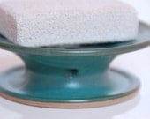 Soap Dish Unique One Piece Draining Dish with Bottom Rim in Teal Green