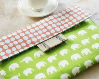 """Macbook Envelope Case, Macbook Cover, Macbook Sleeve, Laptop Case, Laptop Sleeve, 13 or 11""""  Macbook Case in Green Elephants"""