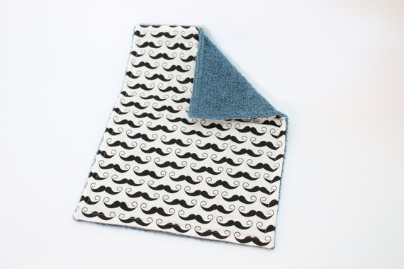 Baby Burp Cloth - Ready to Ship - One of a Kind - Baby Shower Gift - Designer Cotton and Terrycloth - Geekly Chic Mustaches