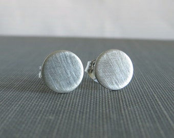 Sterling Silver Post Earrings - Brushed Flat Circle Studs - 7mm Large - Simple Modern Minimal Jewelry