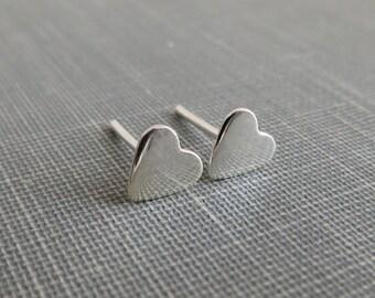 Sterling Silver Post Earrings - Small Heart - Simple Modern Minimal Earrings