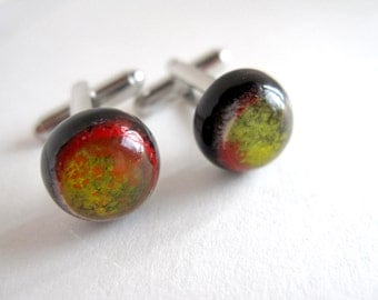 Eggplant Purple, Yellow and Red Lampwork Glass Planet Cufflinks