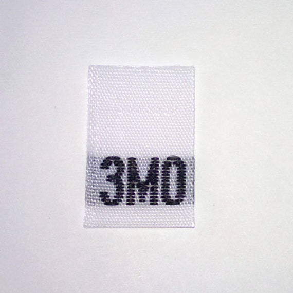 Size 3mo (Three Month) Woven Clothing Size Tag (Package of 100)