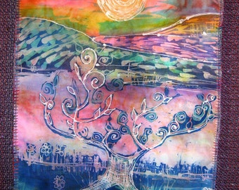 "Wall Hanging "" Sunset tree of Life"" Batik on silk with hand woven backing"