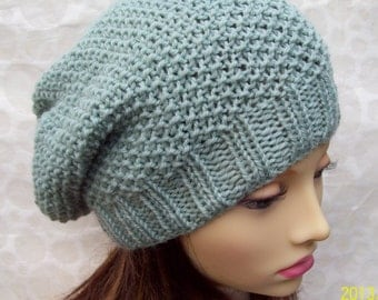 KNITTING PATTERN / ROXANNE Womans Slouchy Beanie Hat/Slouch Hat Pattern/ Womans Slouch Beanie Hat Pattern/ Knit Round