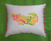 SALE! New Made To Order Gator Pillow made with Lilly Pulitzer fabrics