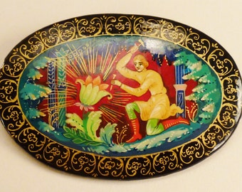 RUSSIAN HANDPAINTED BROOCH Story mythical hero Stunning colors oval 2 1/2 by 1 5/8
