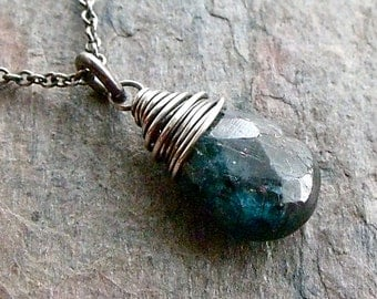 Kyanite Briolette Pendant and Sterling Silver Necklace