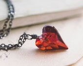Crystal Heart Necklace, Crystal Heart, Crystal Pendant, Heart Pendant, Heart Necklace, Swarovski Crystal, Sterling Silver, PoleStar
