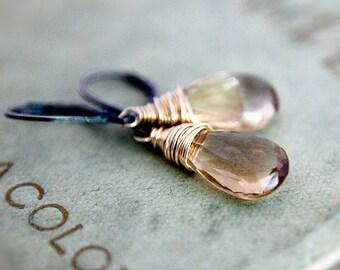 Champagne Earrings Quartz Gold Silver Dark Dangle Drop