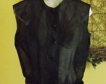 Vintage sheer black sleeveless blouse satin waistband/bow small