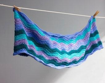 Chevron Circle Scarf, Infinity Scarf, Crochet  Eternity Scarf. Turquoise, Aqua Cowl, Vegan Cowl 22