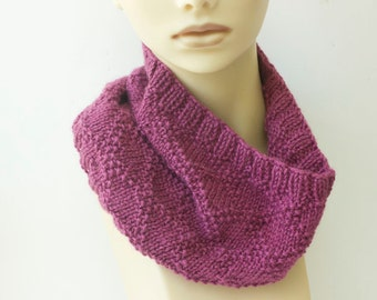 Hand Knit Cowl, Mauve Neck Warmer, Alpaca and Silk Cowl Scarf, Ready to Ship