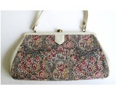 SALE..Vintage 1950s Tapestry Hand Bag / Leather Trim White Tapestry Purse / Mad Men Vintage 50s / Retro Style Floral / Hand Bag