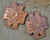SPECIAL ORDER 3 hole Tribal Sun Copper Coptic Cross (1 Pair)