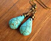 Blue Howlite Wire Wrapped Teardrop Dangle Earrings: Turquoise Tears