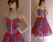 Vintage 1970s Bold Floral Corset Lace Front Tiered Prairie Backless Halter Dress