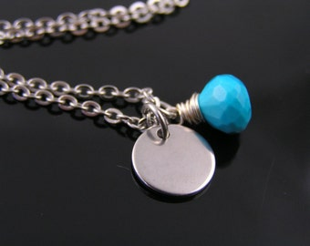 Personalized Necklace, Initial Necklace, Turquoise Necklace, Birthstone Necklace, Birthstone Jewelry, Personalized Jewelry, N1240