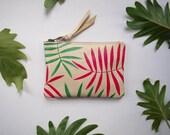 Mini Palm Print Leather Zipper Pouch