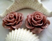 SALE   Cappuccino assorted colors Rose cabochon flat back 18mm- cabochon flowers for hair clips,bobbi pins