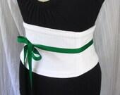 White Pinstripe Corset Waist Cincher Belt - Any Size