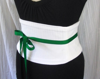 White Pinstripe Corset Waist Cincher Belt - Any Size