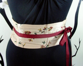 Embroidered Mini Corset Obi  - Sash Waist Cincher Belt Caramel and Crimson Any Size Gold Red Green