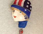Mattie - Lady Face Pin Brooch Woman Head Porcelain-Look Resin Patriotic USA