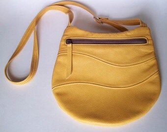Yellow Leather Purse - Crossbody Style - Large Round