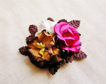 Espresso, Magenta, White roses Mixed bunch Vintage style Millinery Flower spray Bouquet- corsage, floral shabby chic-32114 OOAK