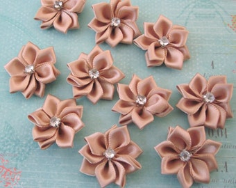 10 Pieces Of Bronze Color Satin Ribbon Flowers