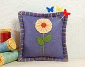 Wool Felt Pincushion • Buttercream Flower on Purple Sage • Hand Embroidered • Pin Pillow