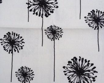Fabric - Heavy White Cotton with black Dandelion