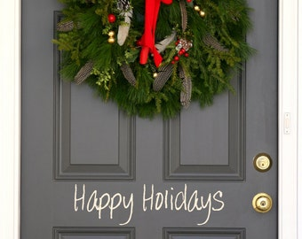 Happy Holidays Christmas holiday festive front  door decal