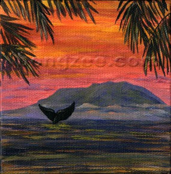 Whale Of A Tail 4 x 4 Mini Original Oil Painting Art Artwork Sunset Humpback Tropical Palm Tree Ocean Hawaii Season Watching Tropics Maui