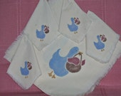 VINTAGE-- Stenciled Table Runner and Napkins with Country Geese