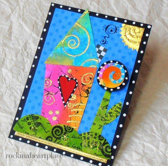 ACEO - original collage art card - wonky house in rainbow colors - Good Morning Sunshine