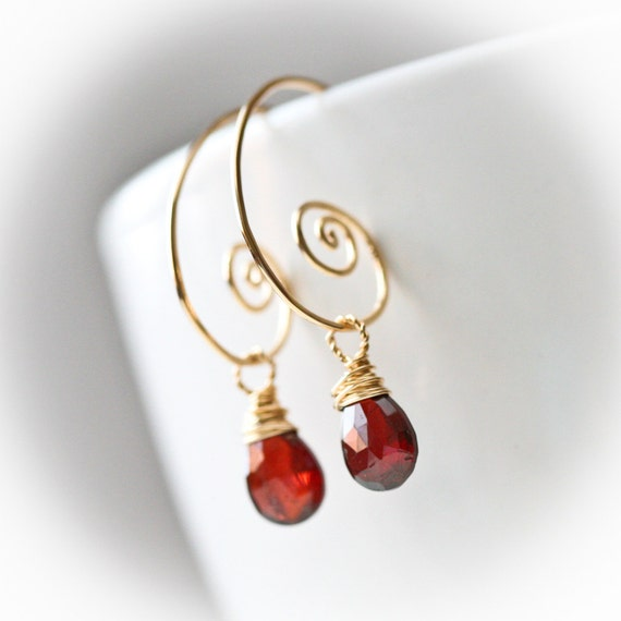 Cranberry - Red Garnet - Gold Filled Wrapped Briolette Hoop Earrings