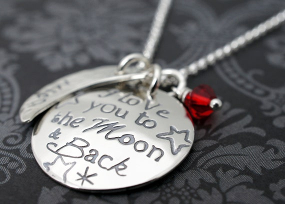 I Love you to the Moon & Back Personalized Necklace - Mother's Jewelry with Child's Name and Birthstone Charm in Sterling Silver