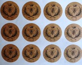 """Sheet of 63 Bumble Bee Stickers 1"""" in diameter PRINTED FOR YOU on Kraft Brown Paper"""