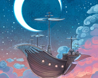 Dreamship 11x14 airship illustration in dreamy colors