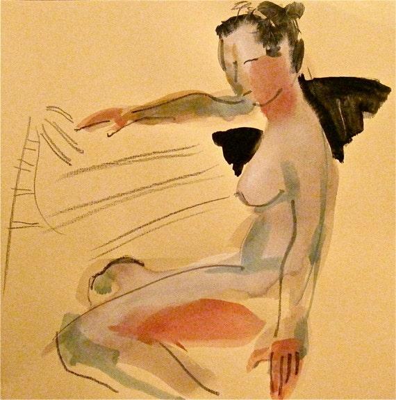 Nude painting #1001, nude art, original, gesture sketch by Gretchen Kelly