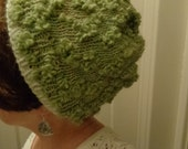 Green textured knit hat