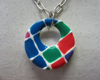 Red Green Blue White Necklace Silver Pendant Vintage
