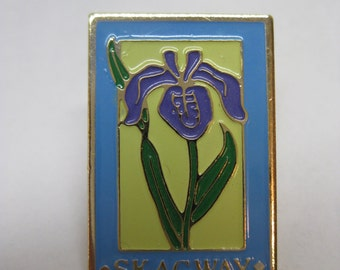 Skagway Tie Tack Brooch Pin Flower Purple Blue Green Gold Vintage